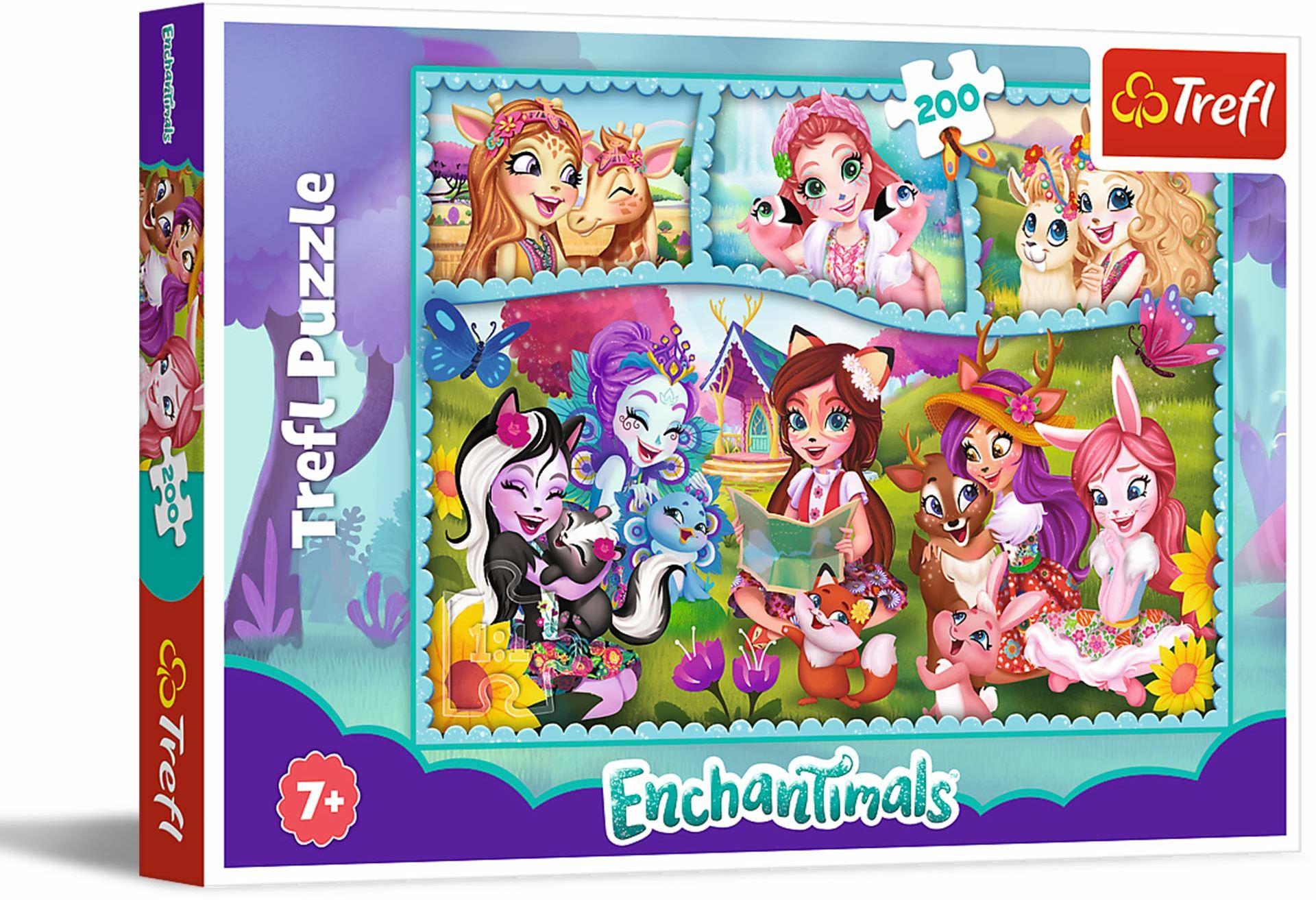 Trefl Niezwykły Świat Enchantimals Puzzle 200 Elementów o Wysokiej Jakości Nadruku dla Dzieci od 7 lat