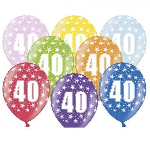 """Balon 14"""" z cyfrą 40 mix metalik"""