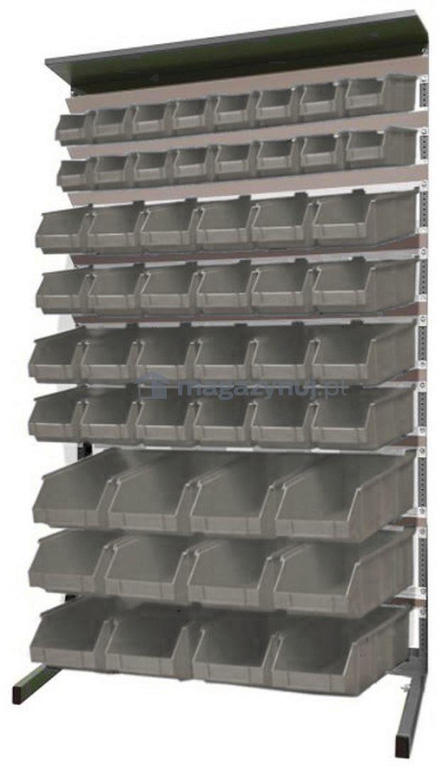 Regał do pojemników warsztatowych, jednostronny. Wym. 1560x940x400 mm 52 pojemniki (pojemniki z pojemnikami)