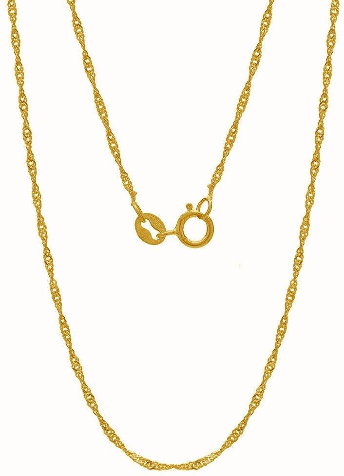 Srebrny łańcuszek skręcany singapur, srebro 925 : Długość (cm) - 45, Srebro - kolor pokrycia - Pokrycie żółtym 18K złotem
