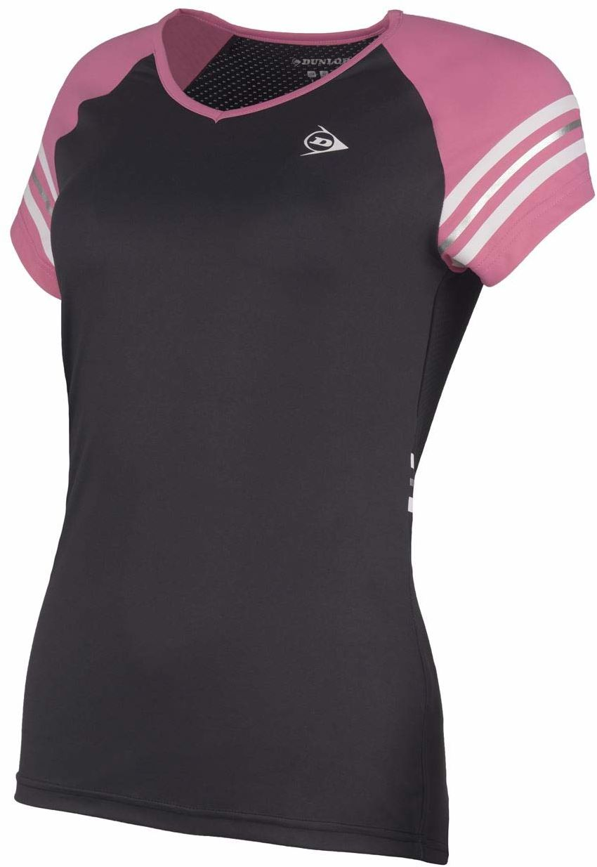 Dunlop Damska koszulka 72226-XL Performance Line Crew T-shirt, czarny/różowy, XL