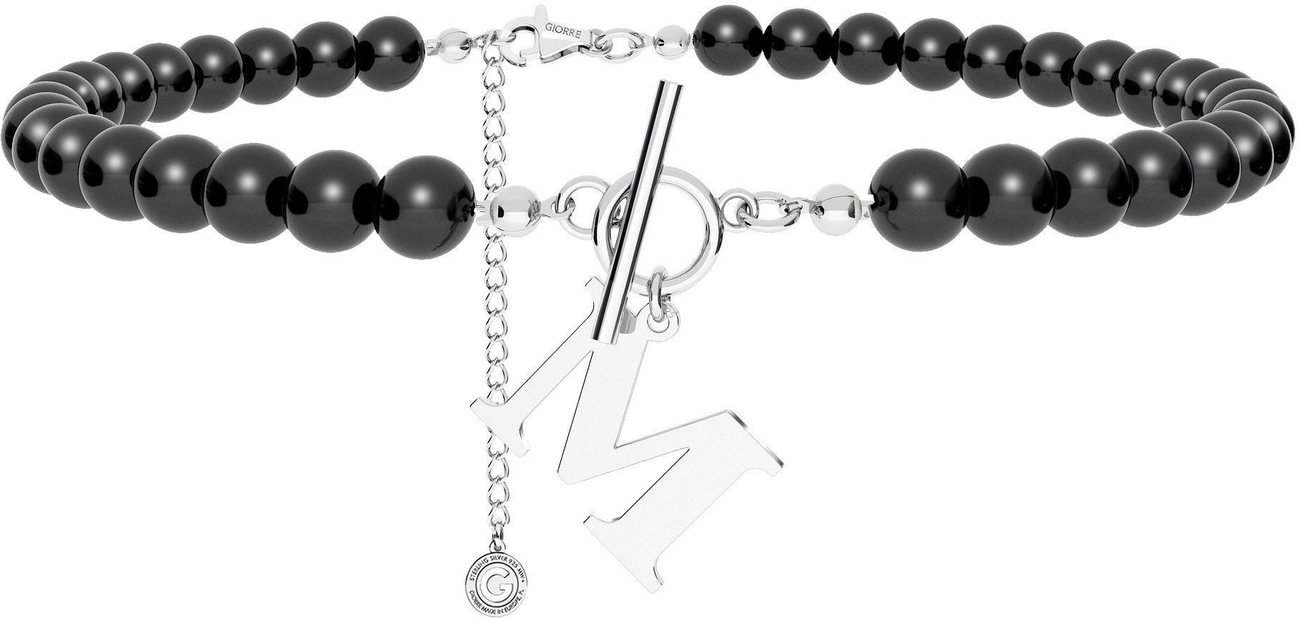 Czarny perłowy choker z dowolną literą, Swarovski, srebro 925 : Litera - M, Srebro - kolor pokrycia - Pokrycie platyną