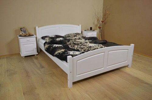 Białe łóżko drewniane sosnowe Mario 140x200