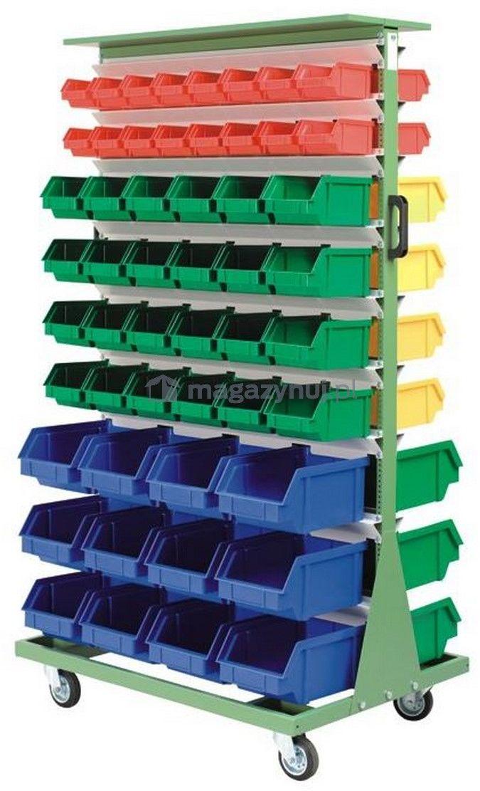 Wózek do pojemników warsztatowych, dwustronny, jezdny. Wym: 1690x940x675mm 104 pojemniki (pojemniki z pojemnikami)