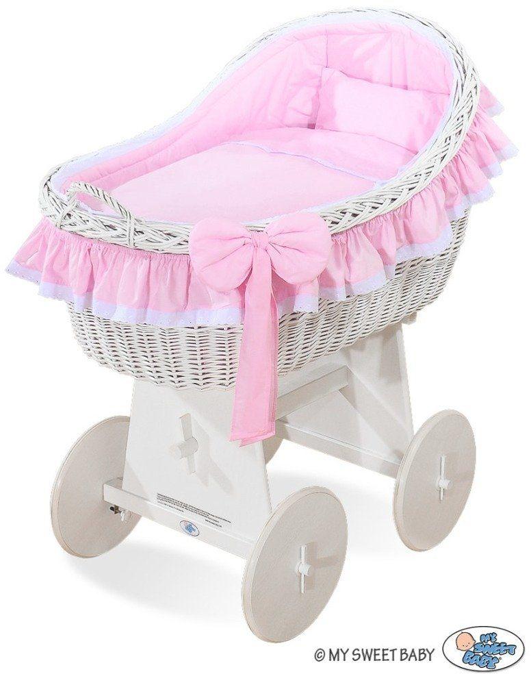 Kosz Mojżesza z różową kokardką 72200822-My Sweet Baby, kosz dla niemowlaka