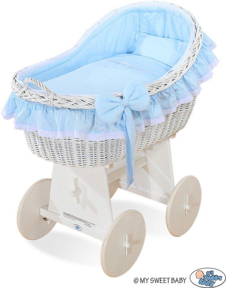 Kosz Mojżesza z niebieską kokardką 72200821-My Sweet Baby, kosz dla niemowlaka