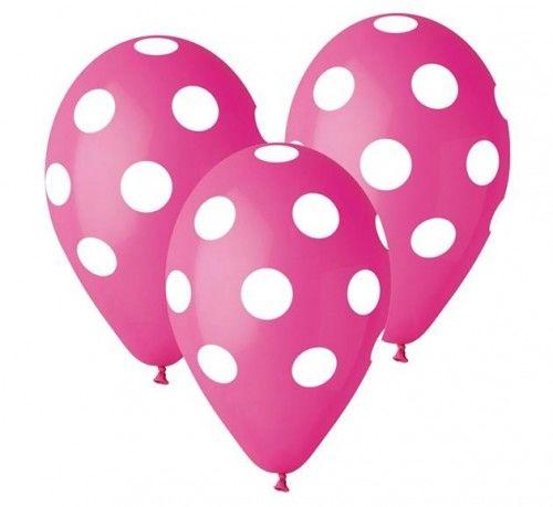 """Balony Premium 12"""", Różowe w grochy, 5 szt."""