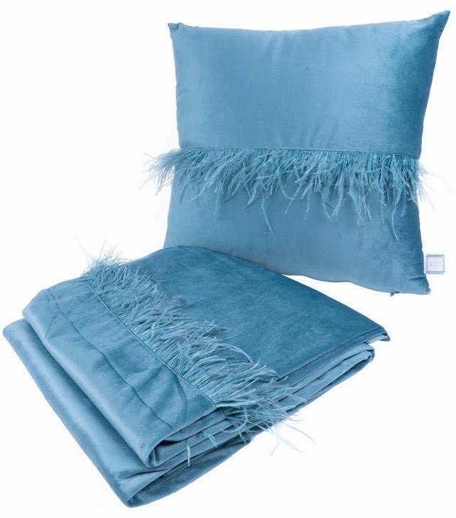 Poduszka dekoracyjna i koc Palmira 200 zestaw 2 sztuk Aqua