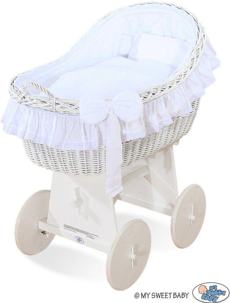 Kosz Mojżesza z białą kokardką 72200820-My Sweet Baby, kosz dla niemowlaka