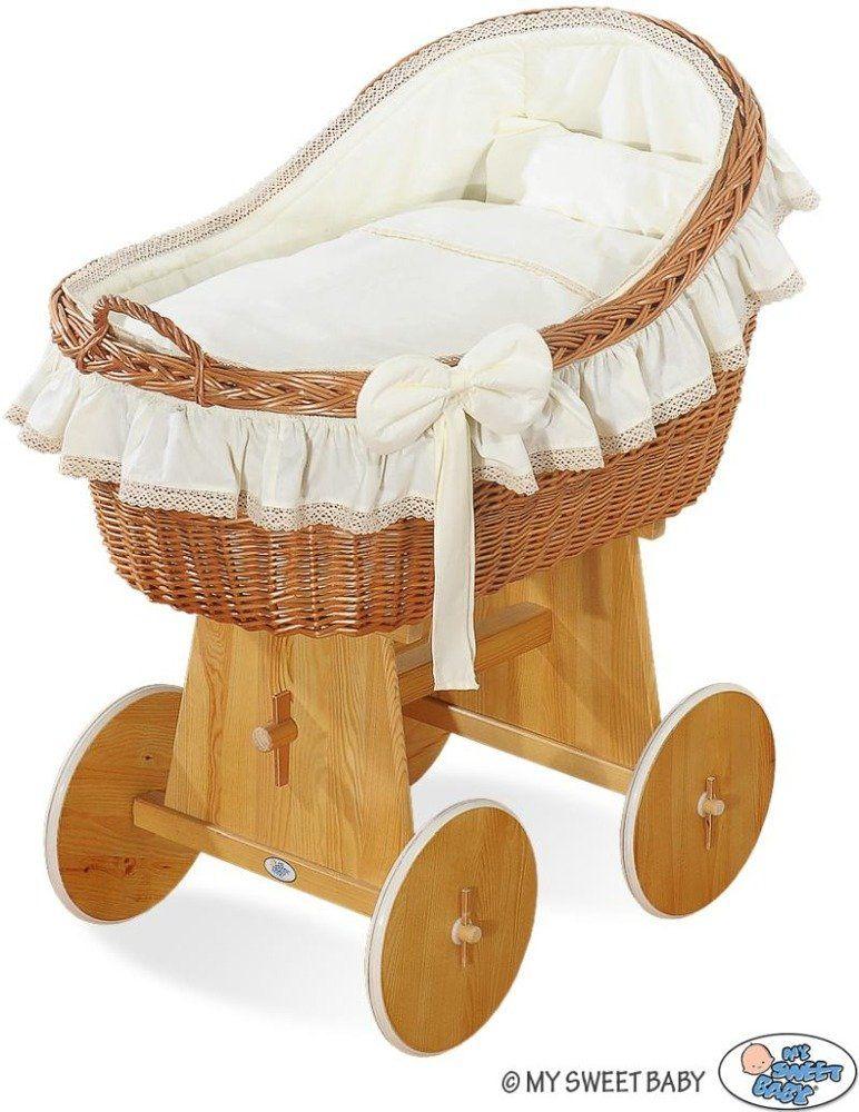 Naturalny kosz Mojżesza z kremową kokardką 2200823-My Sweet Baby, kosz dla niemowlaka