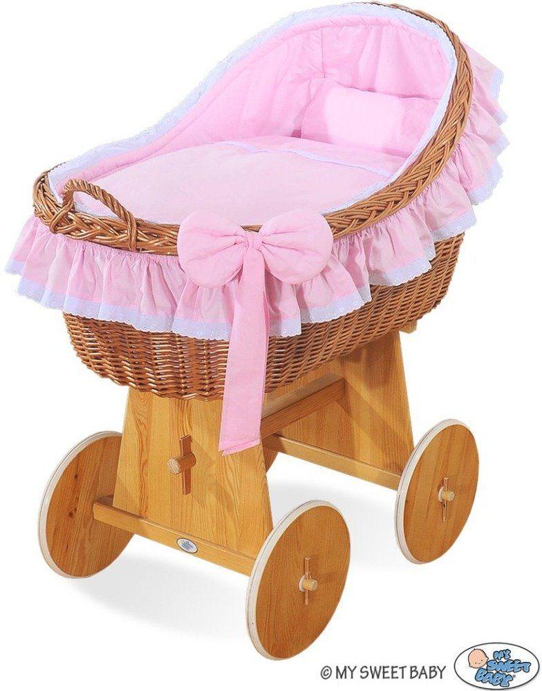 Naturalny kosz Mojżesza z różową kokardką 2200822-My Sweet Baby, kosz dla niemowlaka