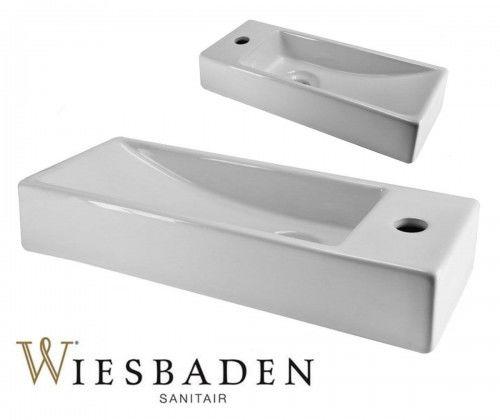 Umywalka mała ceramiczna prostokątna 38x14cm TRIM, biała
