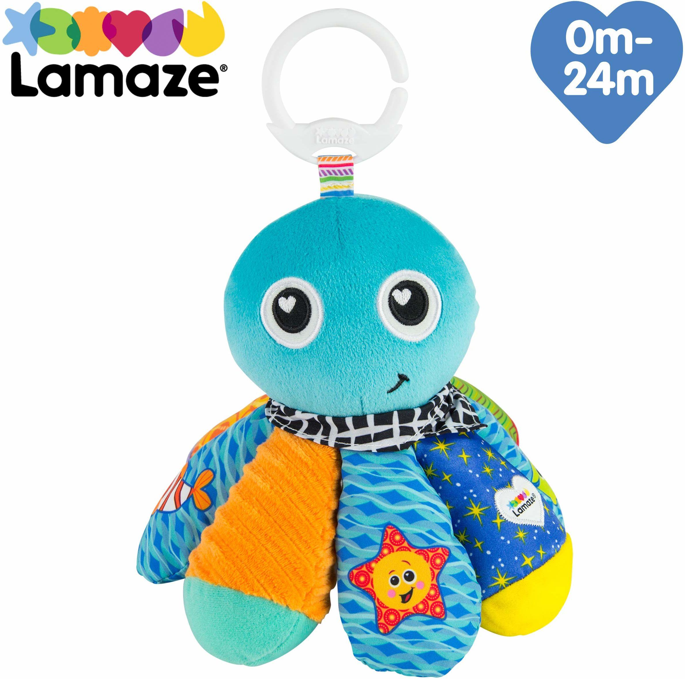 """Lamaze Zabawka dla niemowląt """"Sam, oktopus"""" Clip & Go wysokiej jakości zabawka dla małych dzieci. Piszczący łapacz wspomaga motorykę i jest idealną zabawką do wózka dziecięcego i przytulanką"""
