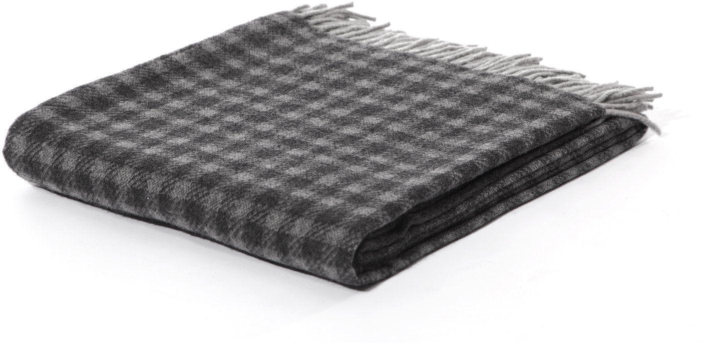 Biederlack Britta pled czysta wełna koc narzuta 130 x 170 cm, Vichy-Flow antracytowe/szare, pełny