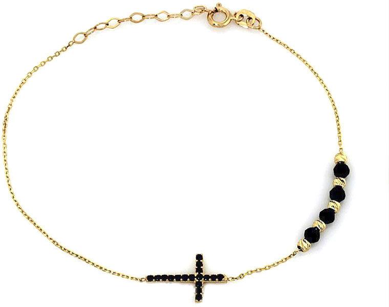 Złota bransoletka 585 z krzyżykiem czarne cyrkonie