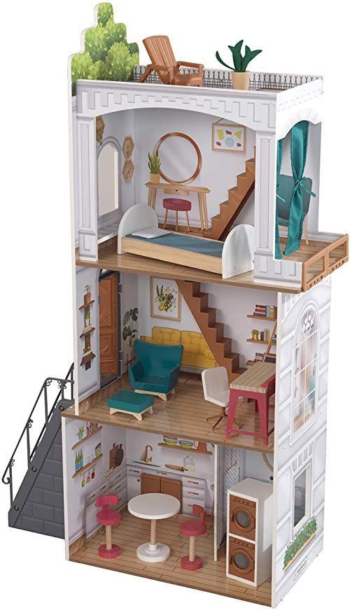 KidKraft 10238 Rowan domek dla lalek z drewna z meblami i akcesoriami dla lalek o wielkości 30 cm, wielokolorowy