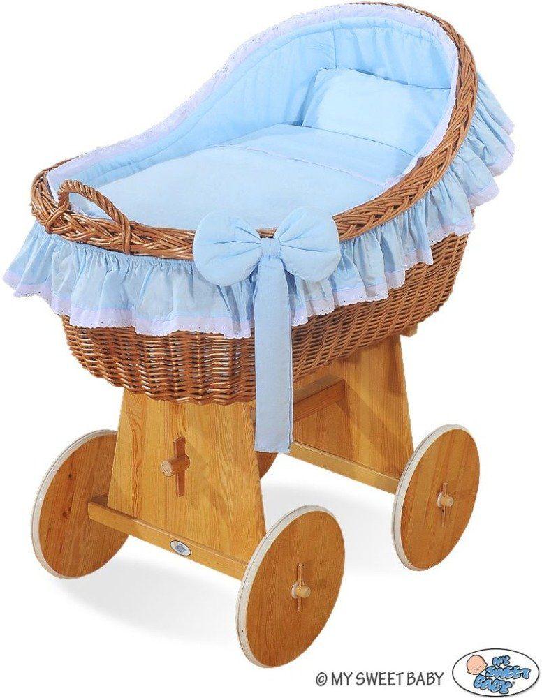 Naturalny kosz Mojżesza z niebieską kokardką 2200821-My Sweet Baby, kosz dla niemowlaka