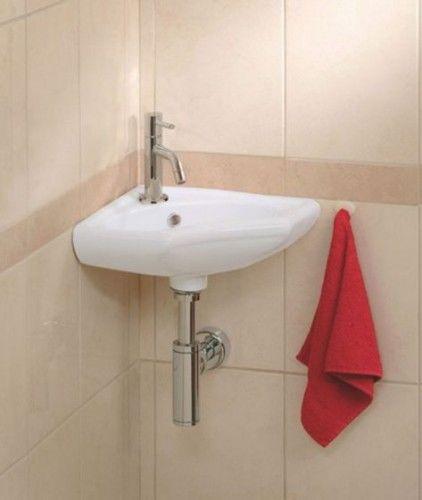 Umywalka kompletna narożna 35x35cm, TREVI biała / chrom