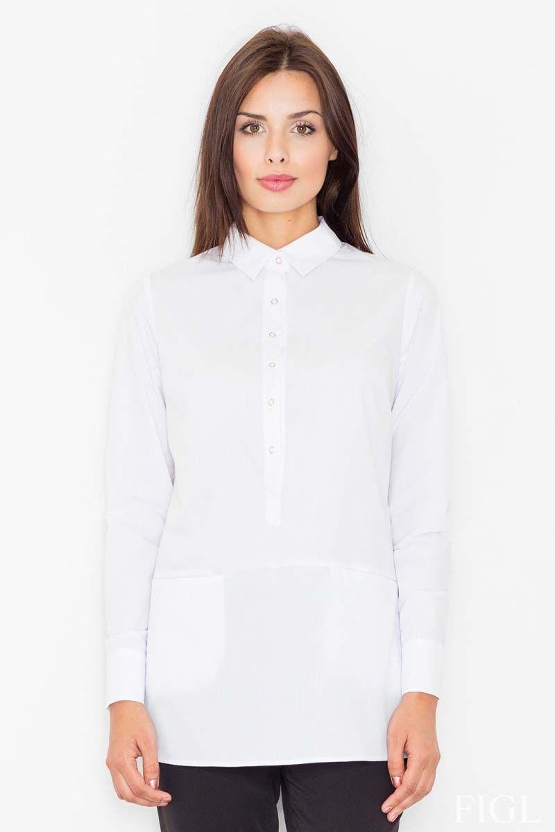 Biała koszula z krótkim zapięciem na zatrzaski