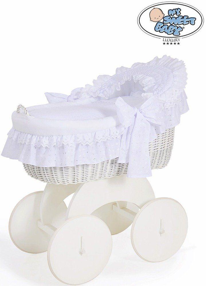 Kosz Mojżesza ze śnieżną kokardką 72200906-My Sweet Baby, kosz dla niemowlaka