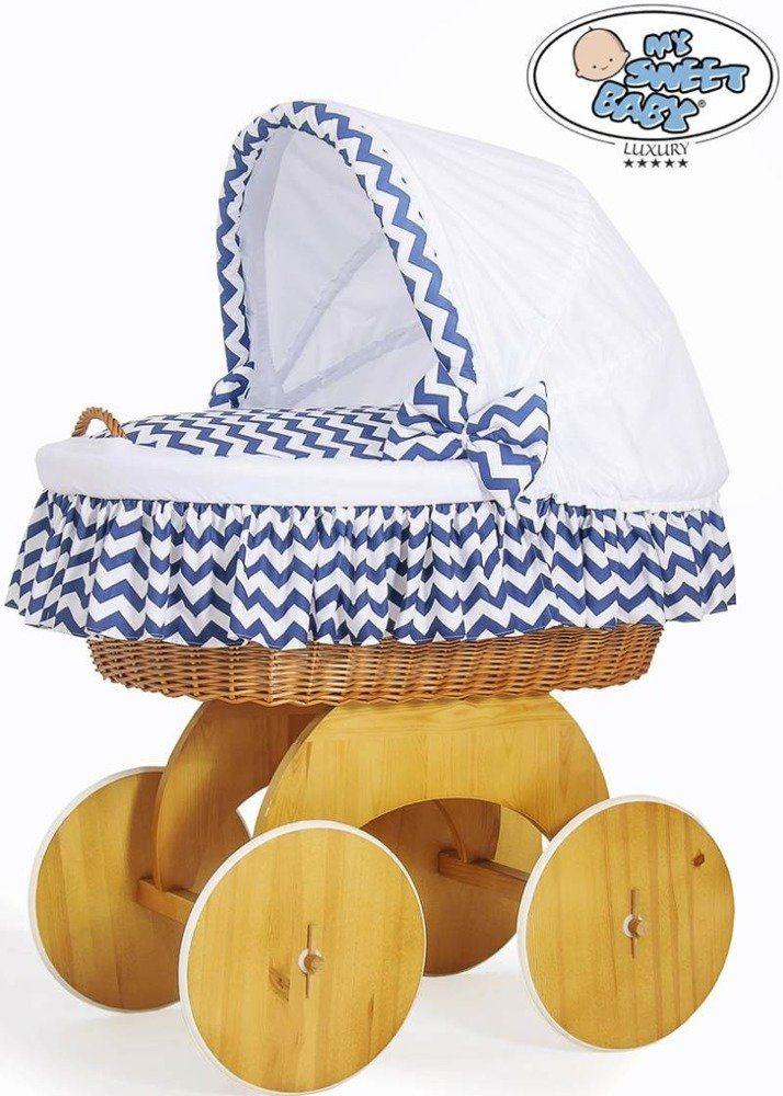 Kosz Mojżesza biało-granatowy zygzak 50102903-My Sweet Baby, kosz dla niemowlaka