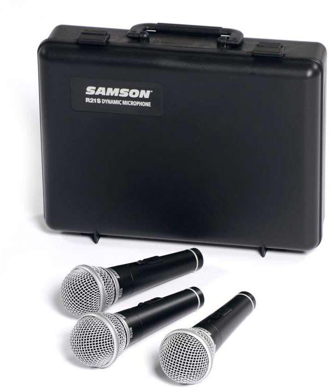 Samson R21S 3 - 3 uniwersalne mikrofony dynamiczne z wyłącznikiem , kardioida, pozłacane styki XLR, walizka transportowa I Expresowa wysyłka I...