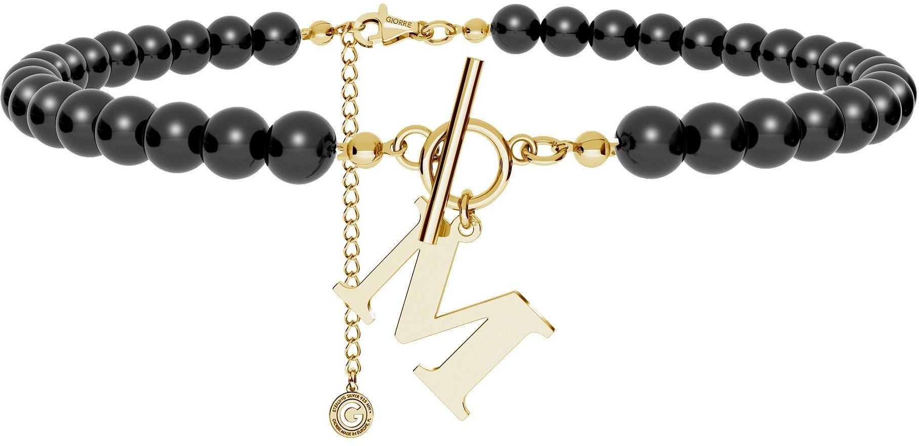 Czarny perłowy choker z dowolną literą, Swarovski, srebro 925 : Litera - N, Srebro - kolor pokrycia - Pokrycie żółtym 18K złotem