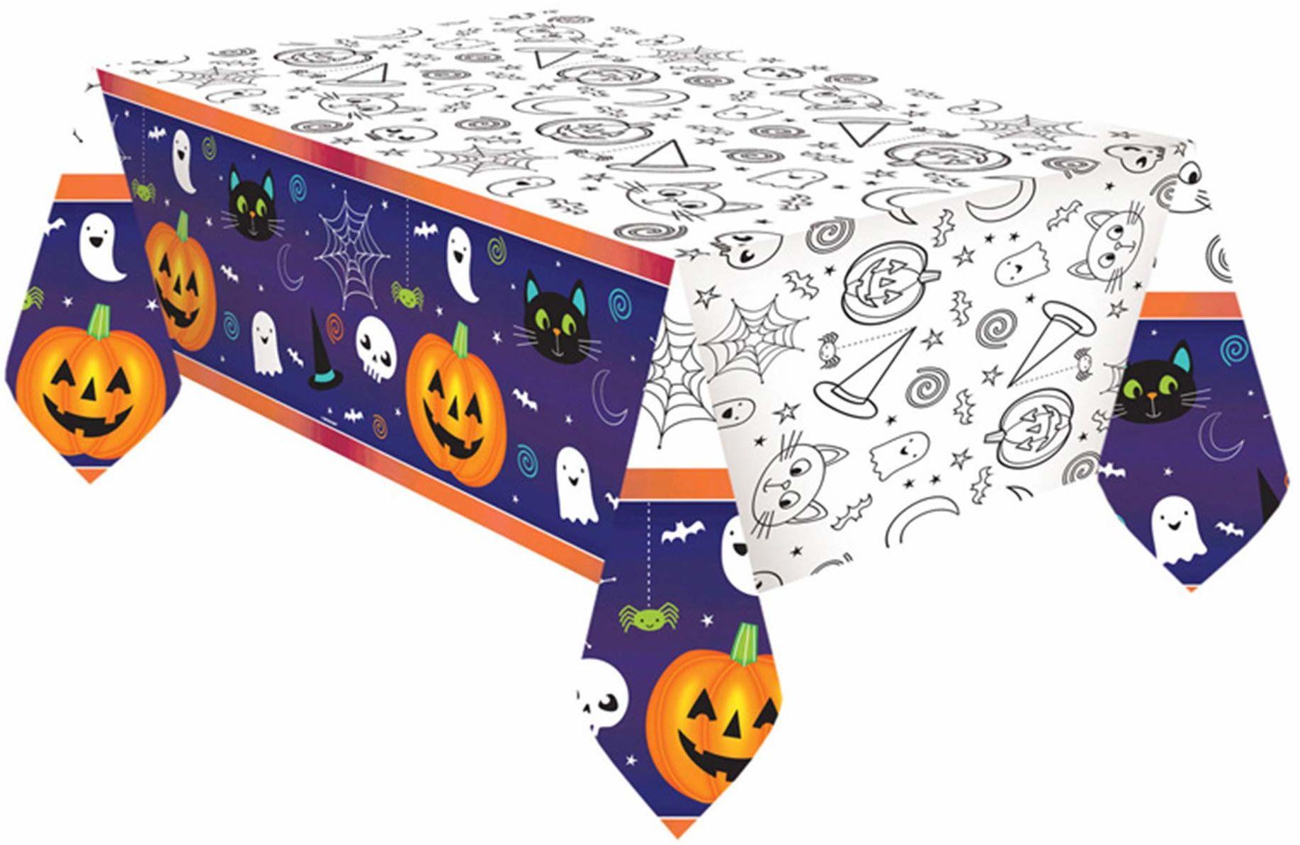 Amscan 9907446 - obrus na Halloween, Friends Fever, z papieru, dekoracja stołu, naczynia na imprezę, Halloween