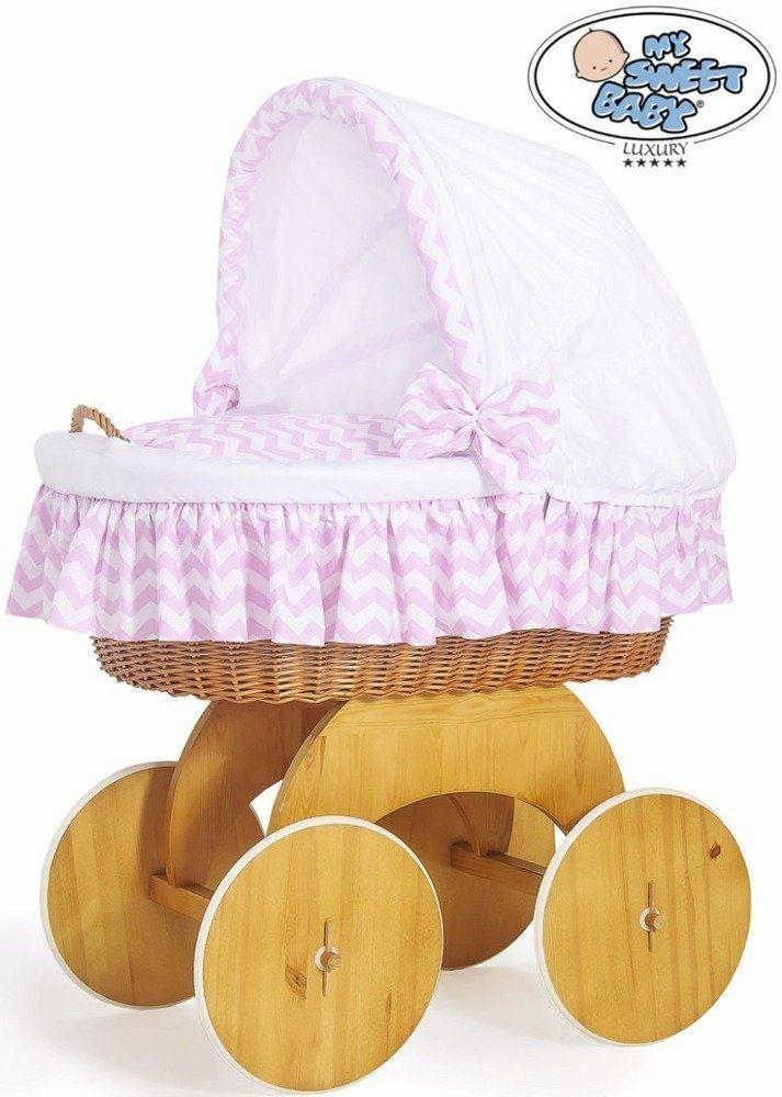 Kosz Mojżesza biało-różowy zygzak 50102901-My Sweet Baby, kosz dla niemowlaka