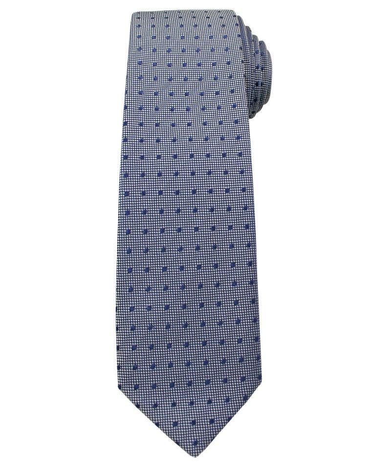 Krawat Męski, Niebiesko-Stalowy w Groszki - Angelo di Monti KRADM1392