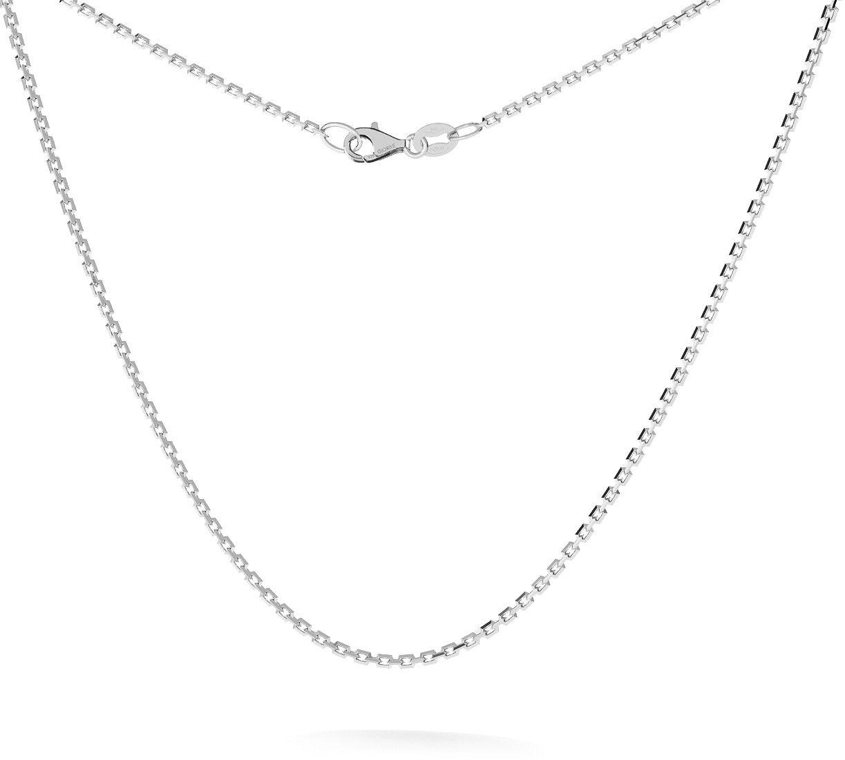 Srebrny łańcuszek na komunię ankier diamentowany 925 : Długość (cm) - 35 + 5, Srebro - kolor pokrycia - Pokrycie platyną
