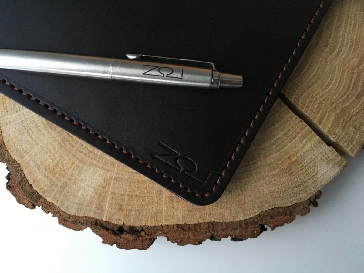 Notatnik W Skórzanej Oprawie Czarny Z Kieszonką + Pudełko Drewniane Wymienne Wkłady Skóra Licowa Vintage Solidny Notes