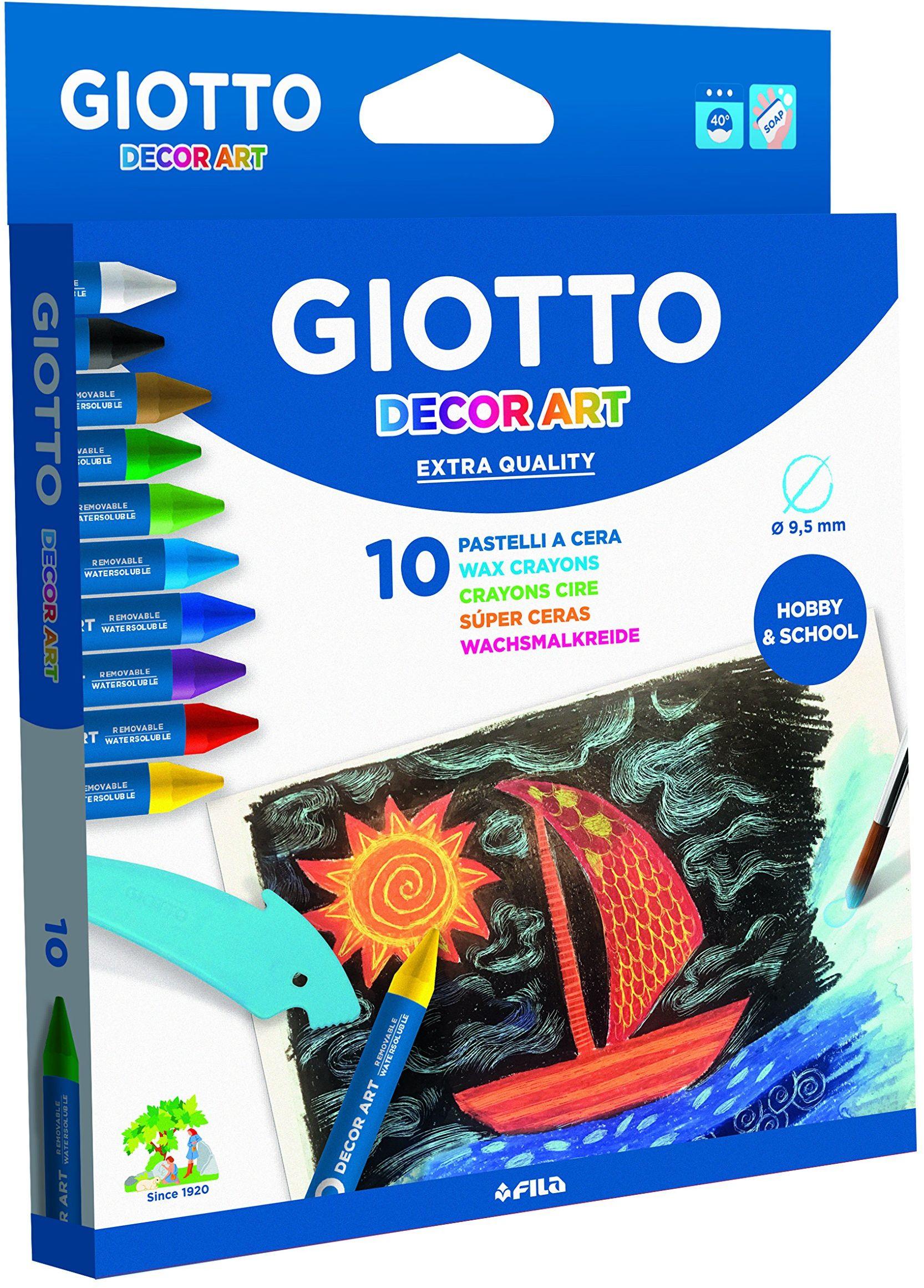 Giotto Decor, rozpuszczalne w wodzie kredki świecowe, 10, 14 x 1,5 x 18 cm