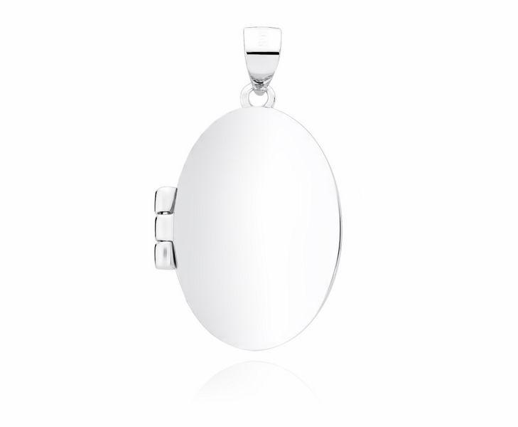 Delikatny rodowany srebrny otwierany owalny wisiorek gładkie puzderko sekretnik srebro 925 Z1818R