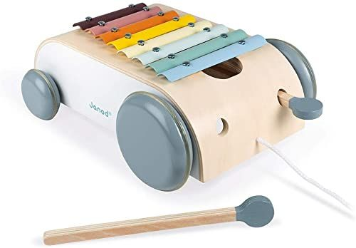 Janod J04406 1 B085J1TBWD Xylo Roller z kolekcji drewna, muzyczna zabawka dla małych dzieci, kolor na bazie wody, zabawka do ciągnięcia, od 18 miesięcy