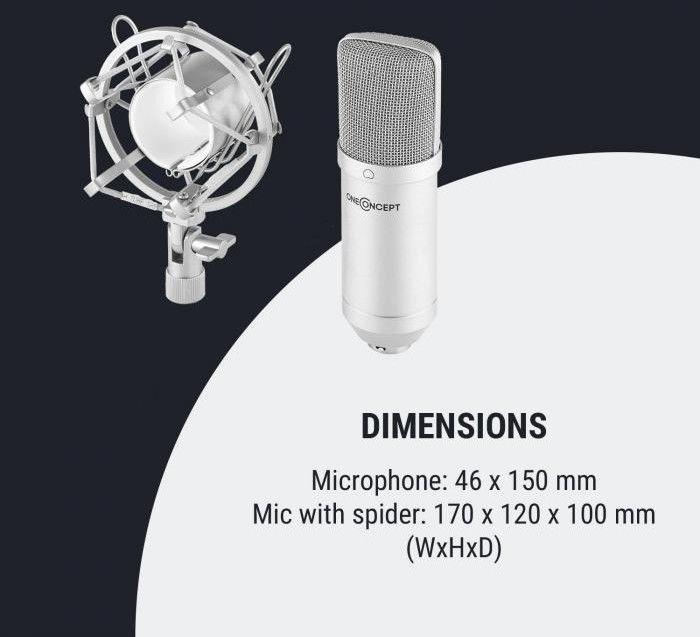 OneConcept Mic-700 Mikrofon studyjny 34 mm jednokierunkowy uchwyt/pająk mikrofonowy osłona przed wiatrem XLR srebrny
