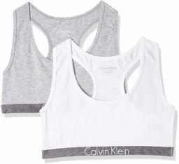 Calvin Klein dziewczęcy 2-pak Bralette Bustier, wielobarwny (1 szary wrzos/1 biały 033), 164 (rozmiar producenta: 14-16)