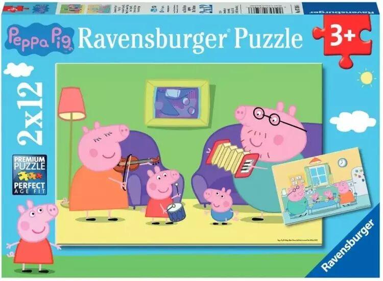 Puzzle 2x24 Świnka Peppa. Zabawa w błocie - Ravensburger