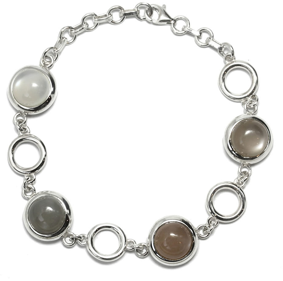 Kuźnia Srebra - Bransoletka srebrna, 20cm, Kamień Księżycowy, 21g, model