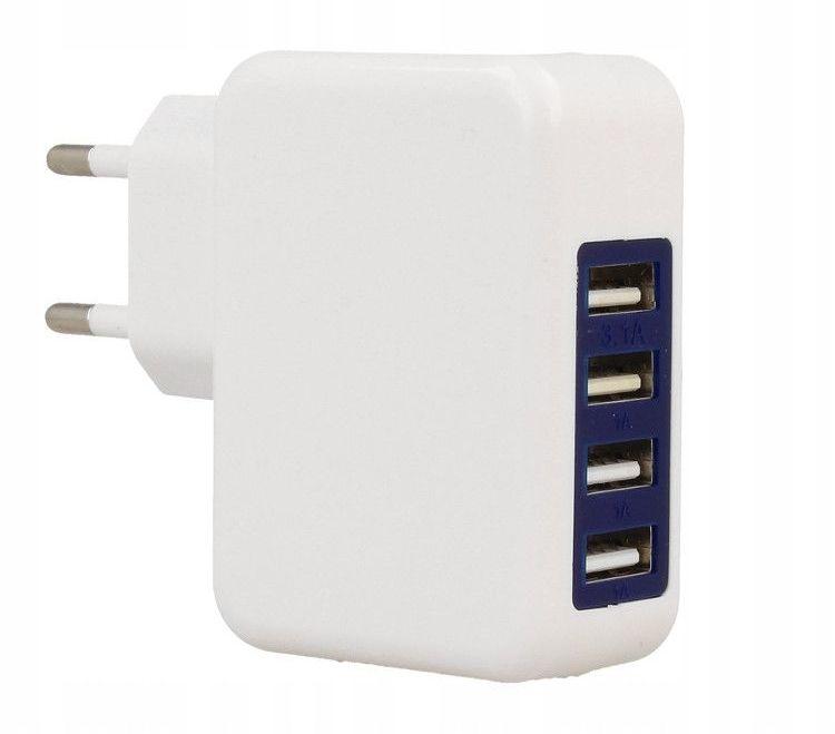 ŁADOWARKA SIECIOWA 4x USB 3.1A TABLETY TELEFONY M555044