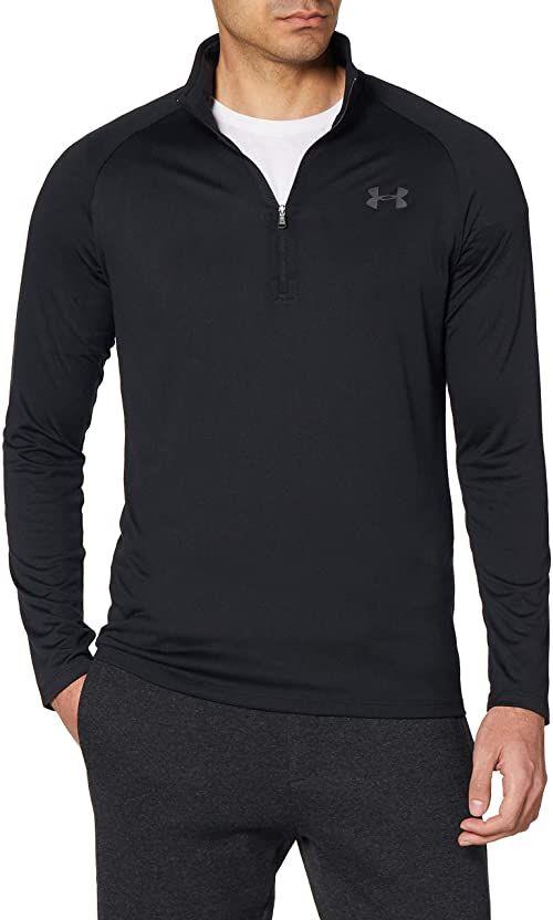 Under Armour Męska koszulka z długim rękawem Tech 2.0 z suwakiem , szybkoschnąca koszulka z długim rękawem dla mężczyzn czarny czarny (Black) L