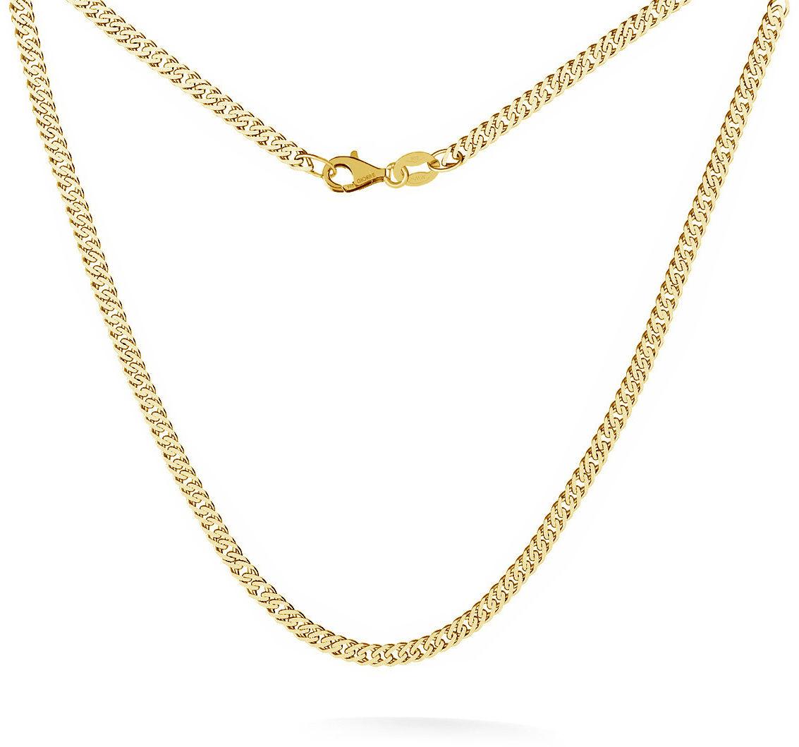 Srebrny łańcuszek romb diamentowany 925 : Długość (cm) - 35 + 5, Srebro - kolor pokrycia - Pokrycie żółtym 18K złotem