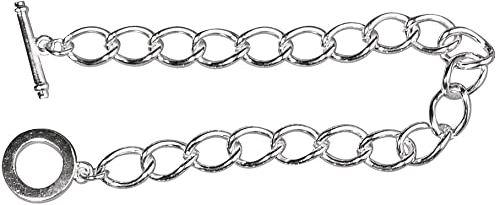 RAYHER 2227462 bransoletka z ogniwami z przetyczką, 18 cm, torebka SB 1 sztuka, prawdziwie posrebrzana