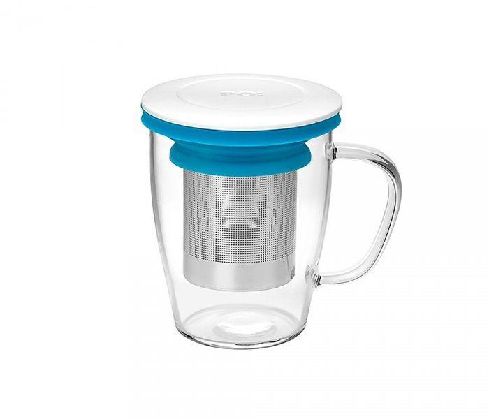 Kubek z zaparzaczem do herbaty 350 ml PAO Ming Infuser (biało-niebieski)