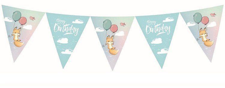 Girlanda Happy Birthday lisek 324 cm 1szt. PG-BHBL