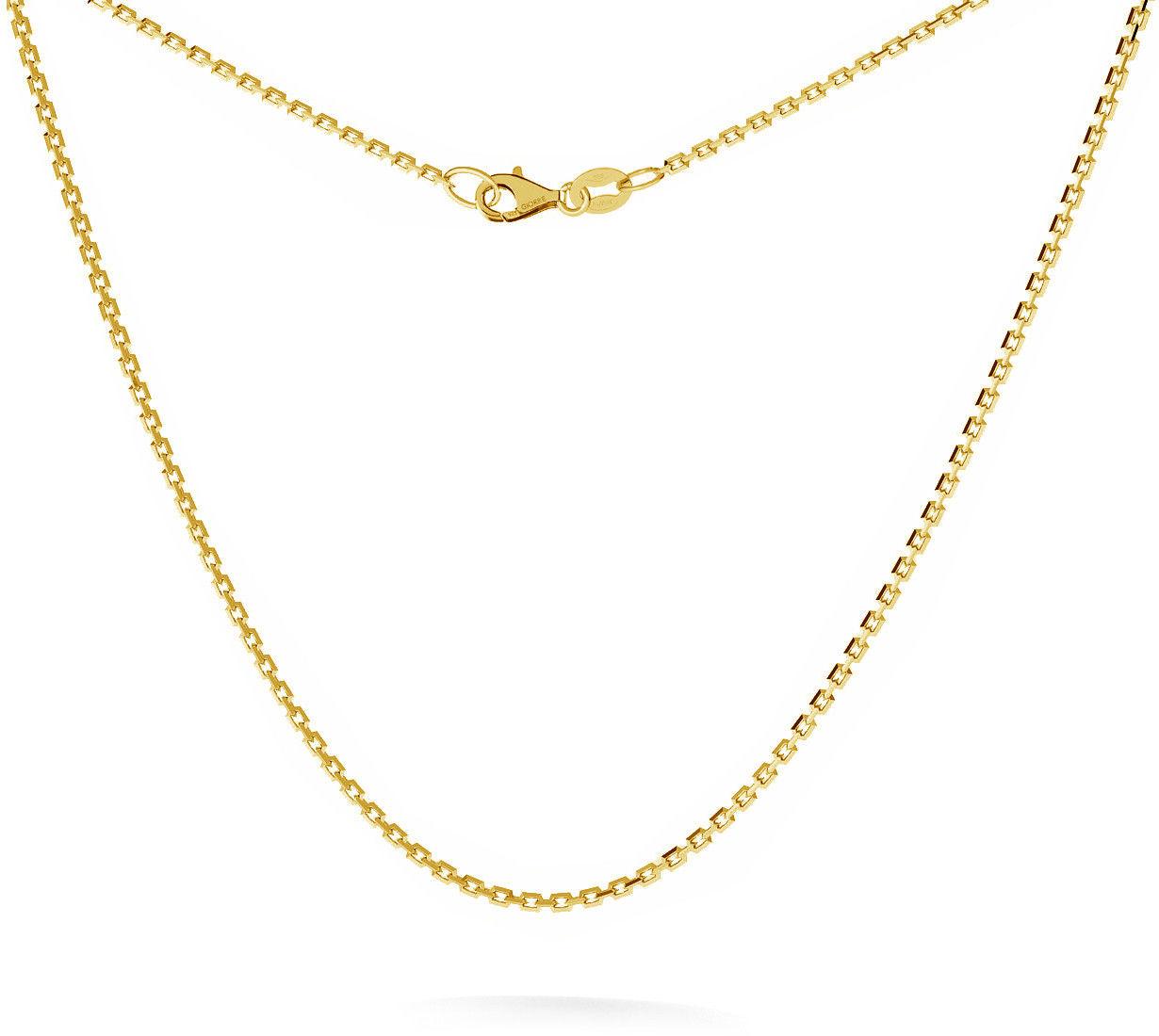 Srebrny łańcuszek na komunię ankier diamentowany 925 : Długość (cm) - 35 + 5, Srebro - kolor pokrycia - Pokrycie żółtym 18K złotem