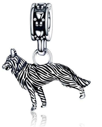Rodowany srebrny wiszący charms do pandora przywieszka wilk wolf srebro 925 BEAD171