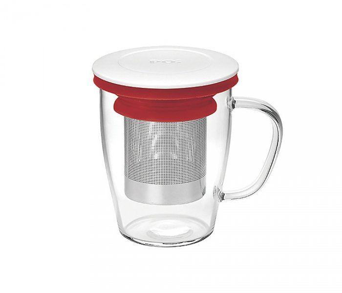 Kubek z zaparzaczem do herbaty 350 ml PAO Ming Infuser (biało-czerwony)