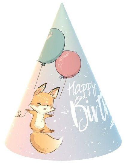 Czapeczki Happy Birthday lisek 6 sztuk PG-CHBL