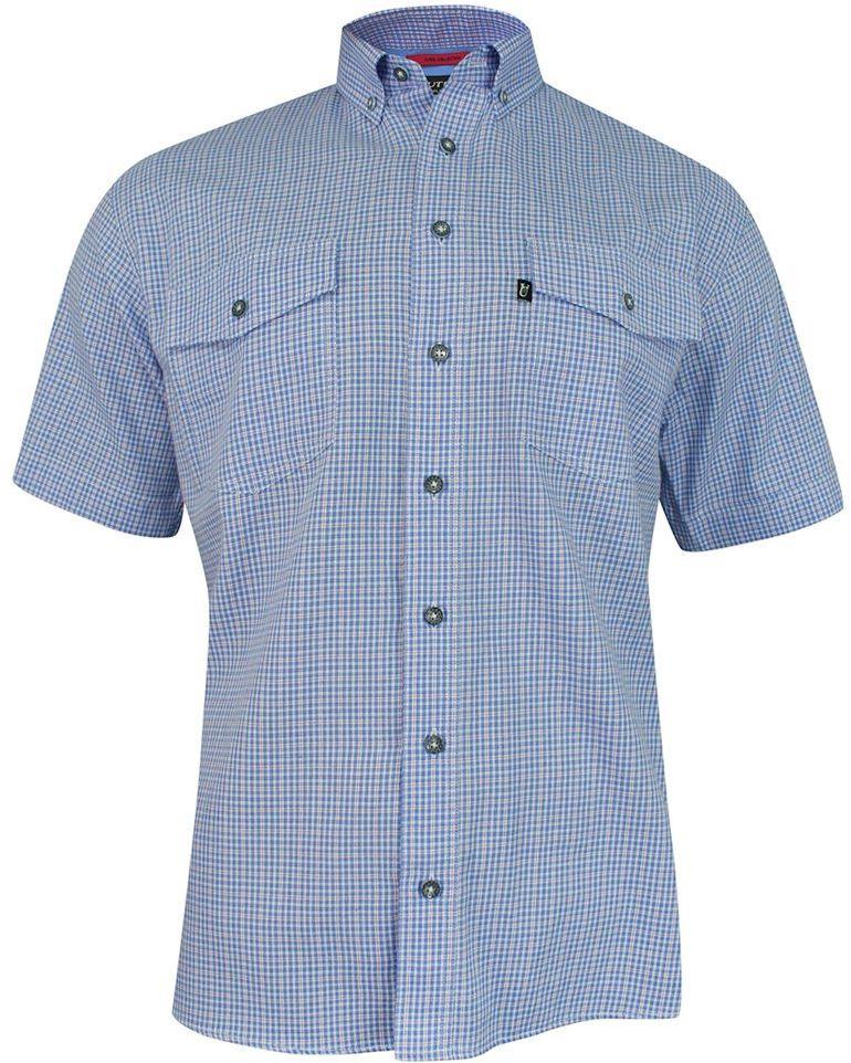Koszula Niebieska, Błękitna Casualowa z Krótkim Rękawem, w Kratkę, 100% Bawełna, Męska -JUREL KSKCJRL0023
